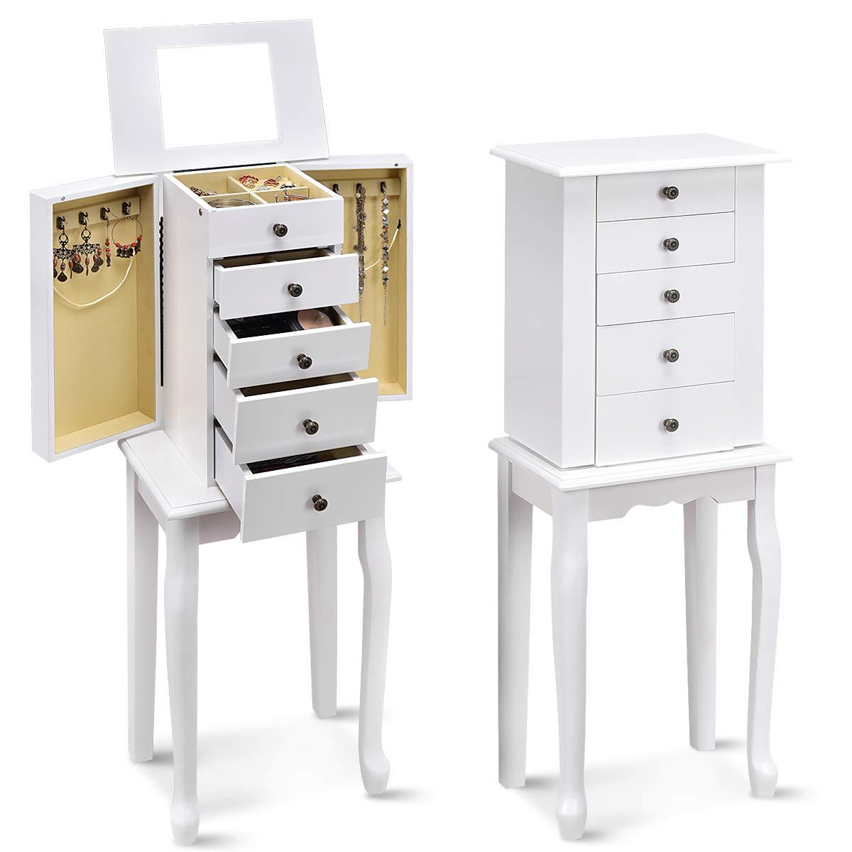 Giantex Jewelry Cabinet Armoire Box Storage Chest Necklace Stand Organizer