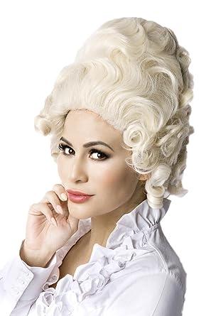 Weisse Damen Barock Frisur Perucke Volumenkopf Ohne Pony Locken Haare