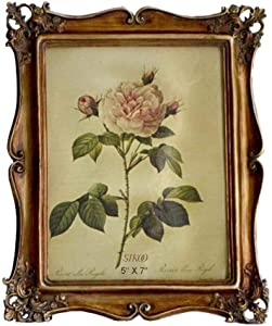 SIKOO Vintage Picture Frame 5x7 Antique Photo Frame 5x7 Tabletop and Wall Hanging with High Definition Glass Front for Home Decor, Bronze Gold (5x7)