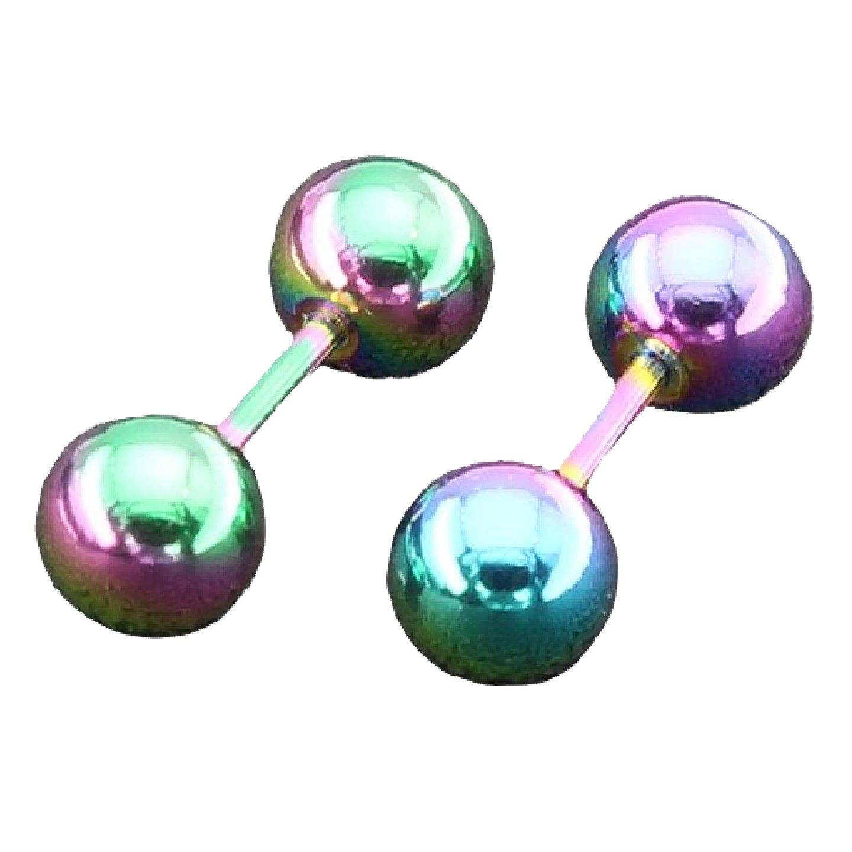 HYPOALLERGENIC 316 Stainless Steel Barbell Minimalist Earrings Tie Dye (Rainbow) - Unisex by Adorability