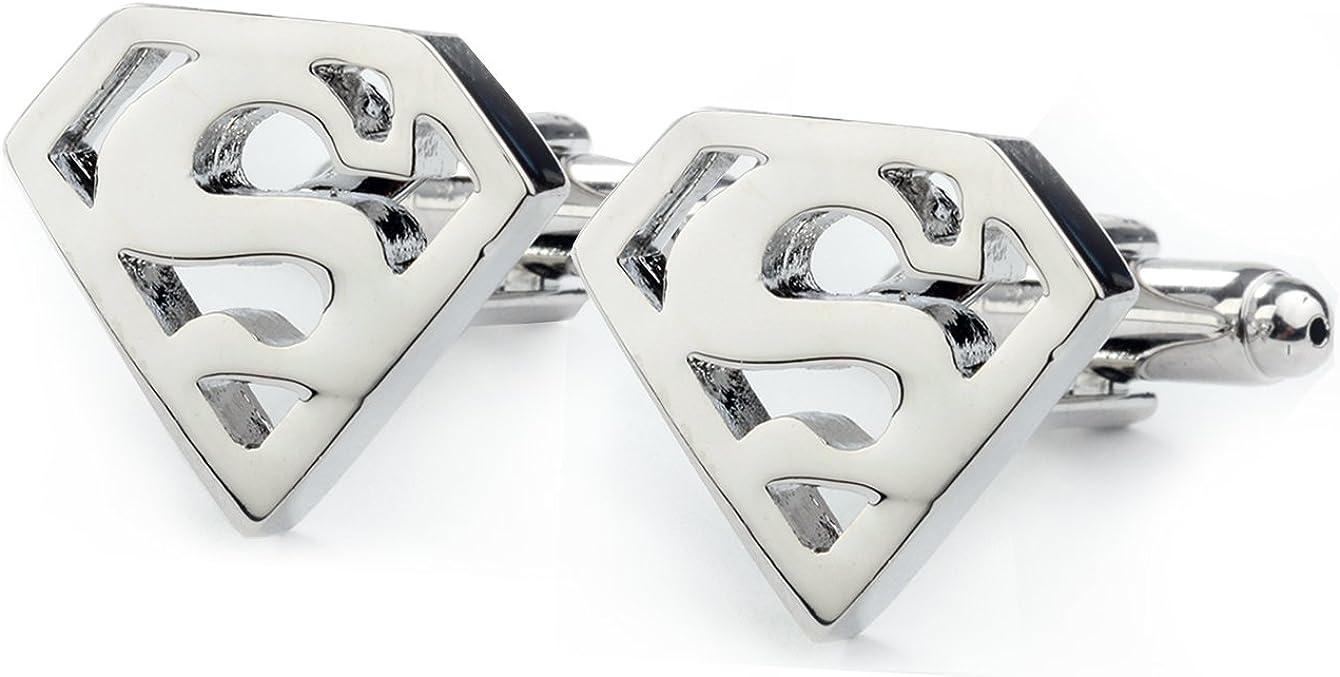 Gemelos y clip de corbata plateados de Batman y Superman: Amazon ...