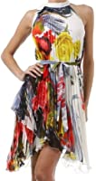 Asymmetrical Hem Pleated Short Sleeveless Dress with Rose Design