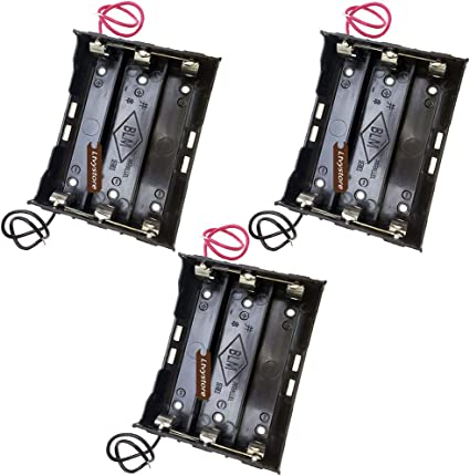 Plastic Battery Storage Case Box Holder For 3x18650 3.7V With Wire Leads