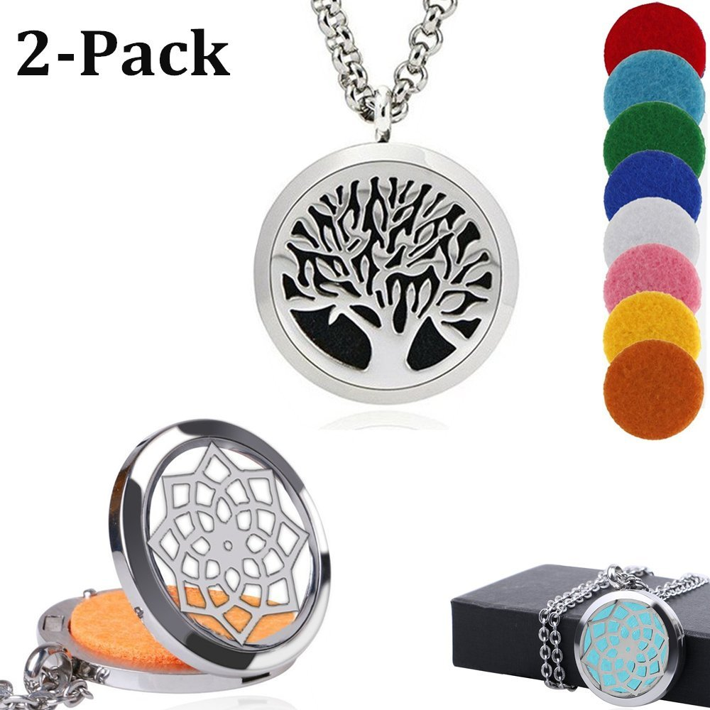 AblerV 2PCS Aromatherapy Essential Oil Diffuser Necklace Two Patterns Pendant Locket Jewelry, Adjustable Chain Stainless Steel Perfume Necklace