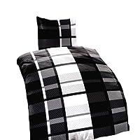 Leonado Vicenti 4 tlg. / 2x2 tlg. Bettwäsche 135x200 cm mit gestreift in grau/weiß aus Fleece Set mit Reißverschluss