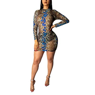 Ophestin Womens Sexy Snakeskin Print See Through Tulle Mini Dress for Club at Women's Clothing store