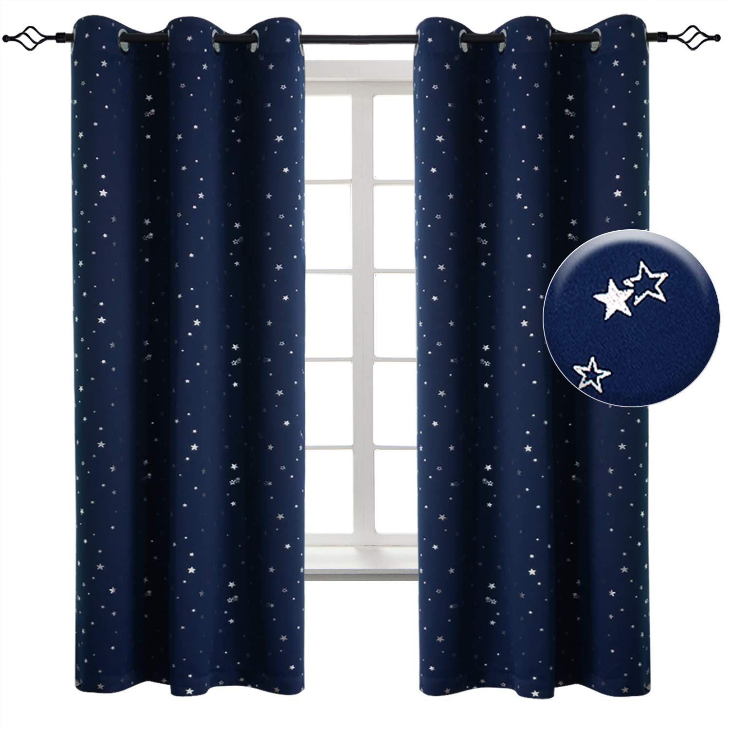 BGment Kid's Blue Blackout Curtains - Twinkle Star Curtain, Space Inspired Night Sky, Creative Blackout Window Treatment for Bedroom (2 Panel, 42 x 63 Panel, Blue) 42 x 63 Panel BGment Hometex