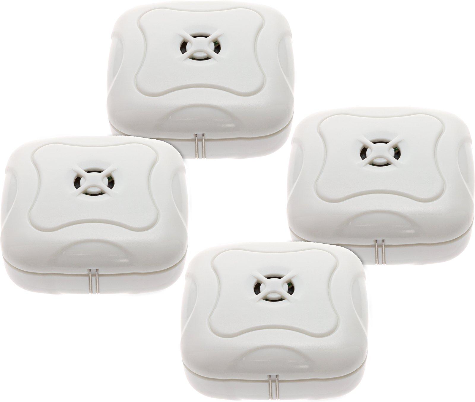 4 Pack Water Leak Detector - 95 Db Flood Detection Alarm Sensor Bathrooms, Basements Kitchens Mindful Design (White)