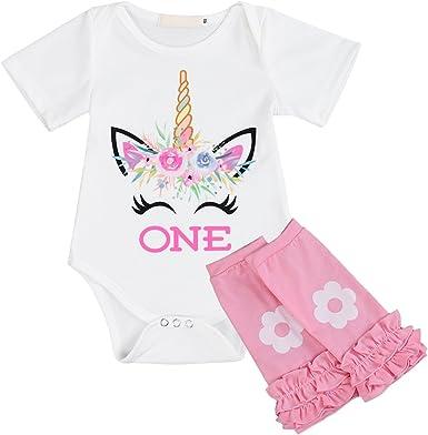 Unicorn One Year Birthday T-Shirt Children Kids Summer Top Boys Girls Cake Smash