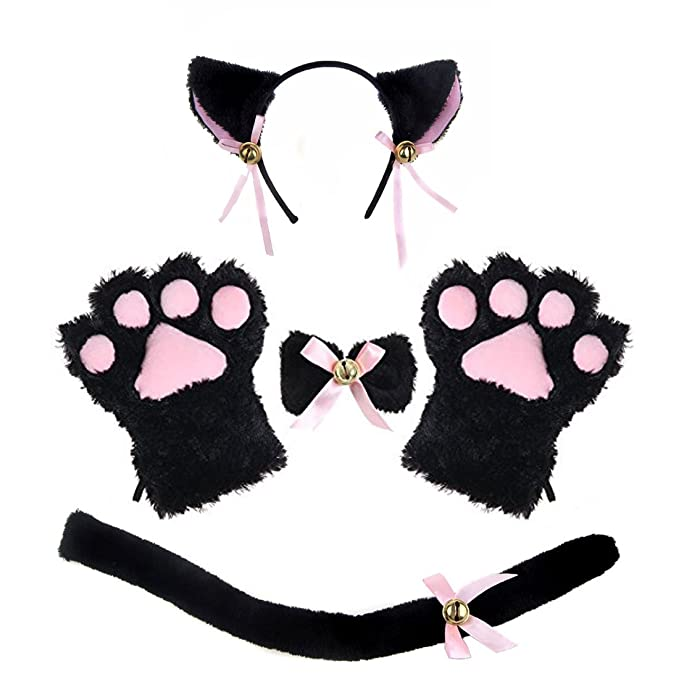 Amazon Com Adult Cat Costume Tail Ears Collar Paws Gloves Anime