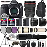 Canon EOS 6D DSLR Camera + Canon 24-105mm IS USM Lens + 650-1300mm Telephoto Lens + 500mm preset Zoom Lens + 0.43X Wide Angle Lens + 2.2x Telephoto Lens + 64GB Storage - International Version