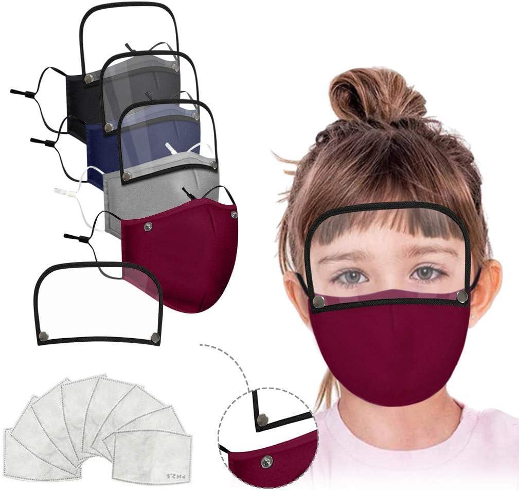 Pañuelo facial para niños, 4 protectores faciales con 8 filtros y pantalla de ojos, protección solar contra el polvo y lavable para interiores y exteriores