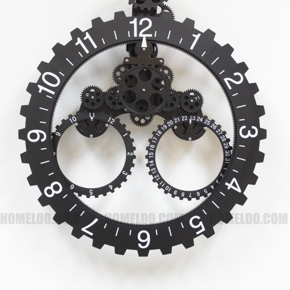 Amazon modern contemporary mechanical gear wall clock with amazon modern contemporary mechanical gear wall clock with calendar wheel black home kitchen amipublicfo Image collections