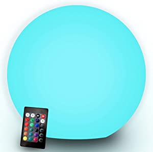 Chakev LED Vibrant Light Ball, 8-inch Waterproof Floating Pool Lights with Remote, 16 RGB Colors & 5 Dimming Levels & 4 Lighting Modes, Rechargeable Portable Nursery Night Light Ball for Home Decor