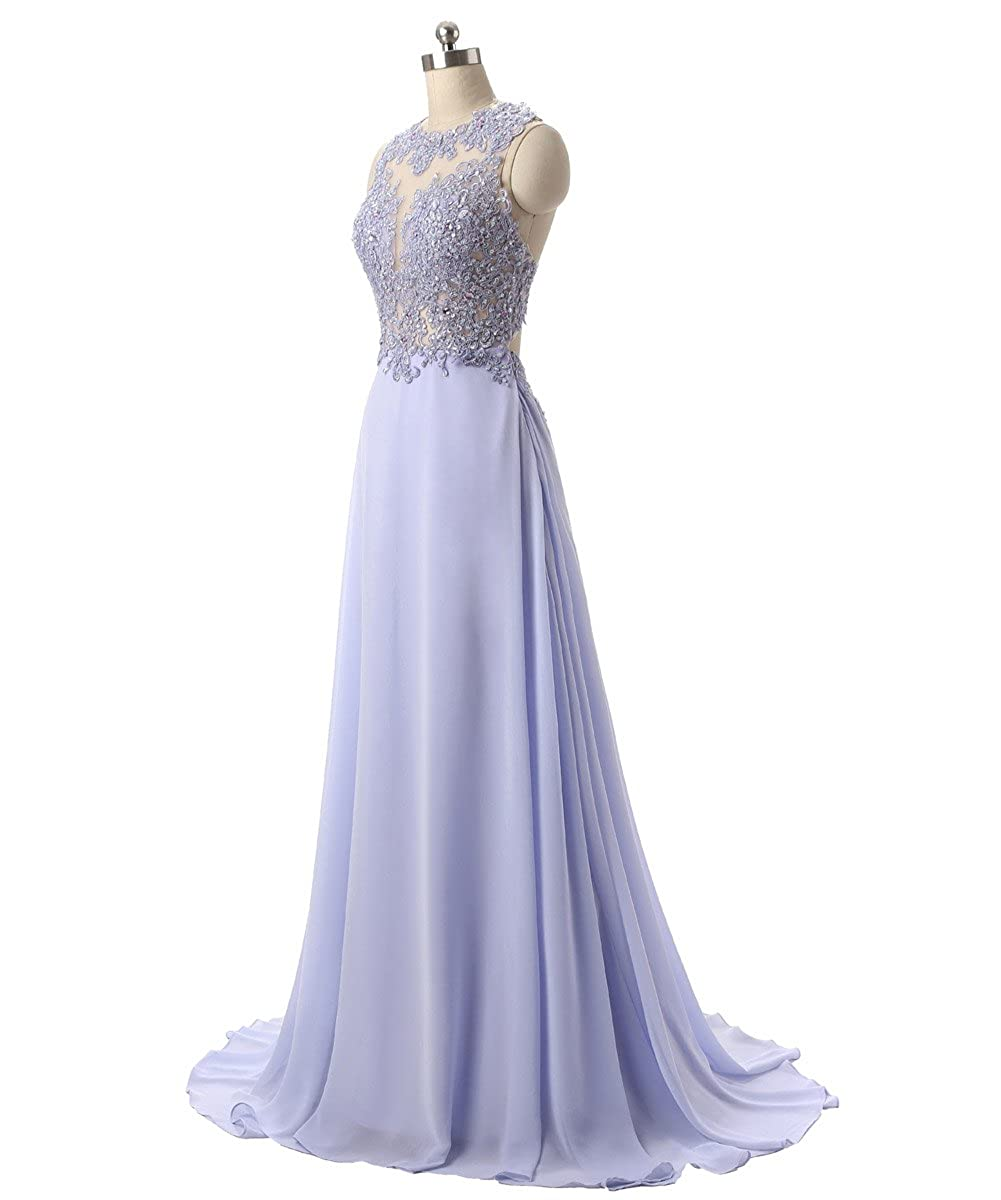 Callmelady Chiffon Long Prom Dresses for Women Evening Gowns UK with Lace Appliques: Amazon.co.uk: Clothing