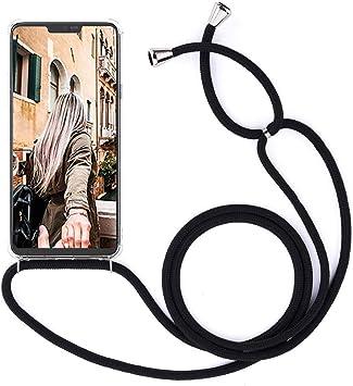 Coque Collier Tour de Cou Mobile OnePlus 6T /étui avec Sangle pour Tenir Suspension Coque Lanyard Sangle Cha/îne Housse en Silicone avec Collier Transparent