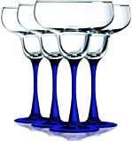Cobalt Blue Margarita Glasses with Beautiful Colored Stem Accent - 14.5 oz. set of 4- Additional Vibrant Colors Available by TableTop King