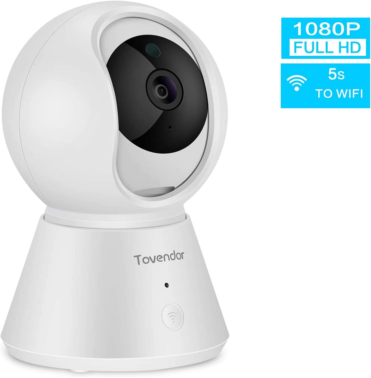Tovendor 2.4G WiFi Home Security Camera, 1080P Motion Tracking Room Monitor with Sound Detection for Baby, Pet and Elderly, Super Clear IR Night Vision, Two Way Audio