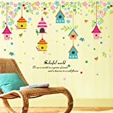 YUMULINN wallpaper stickers Wallpapers murals Color cartoon house wall stickers, bedroom children's room flowers and birds nest 105X65cm