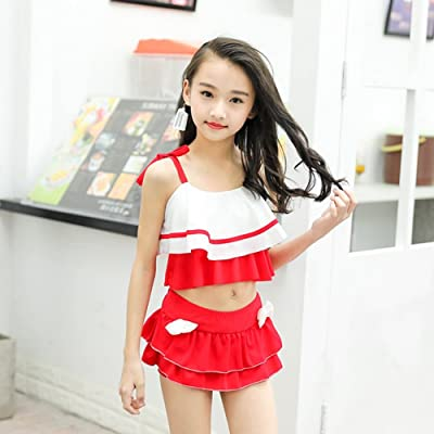 db4da7ee27a7d BERTERI Two-Piece Cute Bikini Swimsuit Bathing Suits Swimwear for Baby Girls /Kid/Children Take Photos Summmer Beach Outfit 0-10 Years Old Blue/Red
