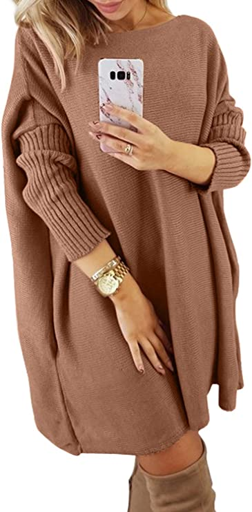 Dearlovers Women's Oversized Loose Casual Long Pullover Sweaters Dress Cute Sweater dresses for Women