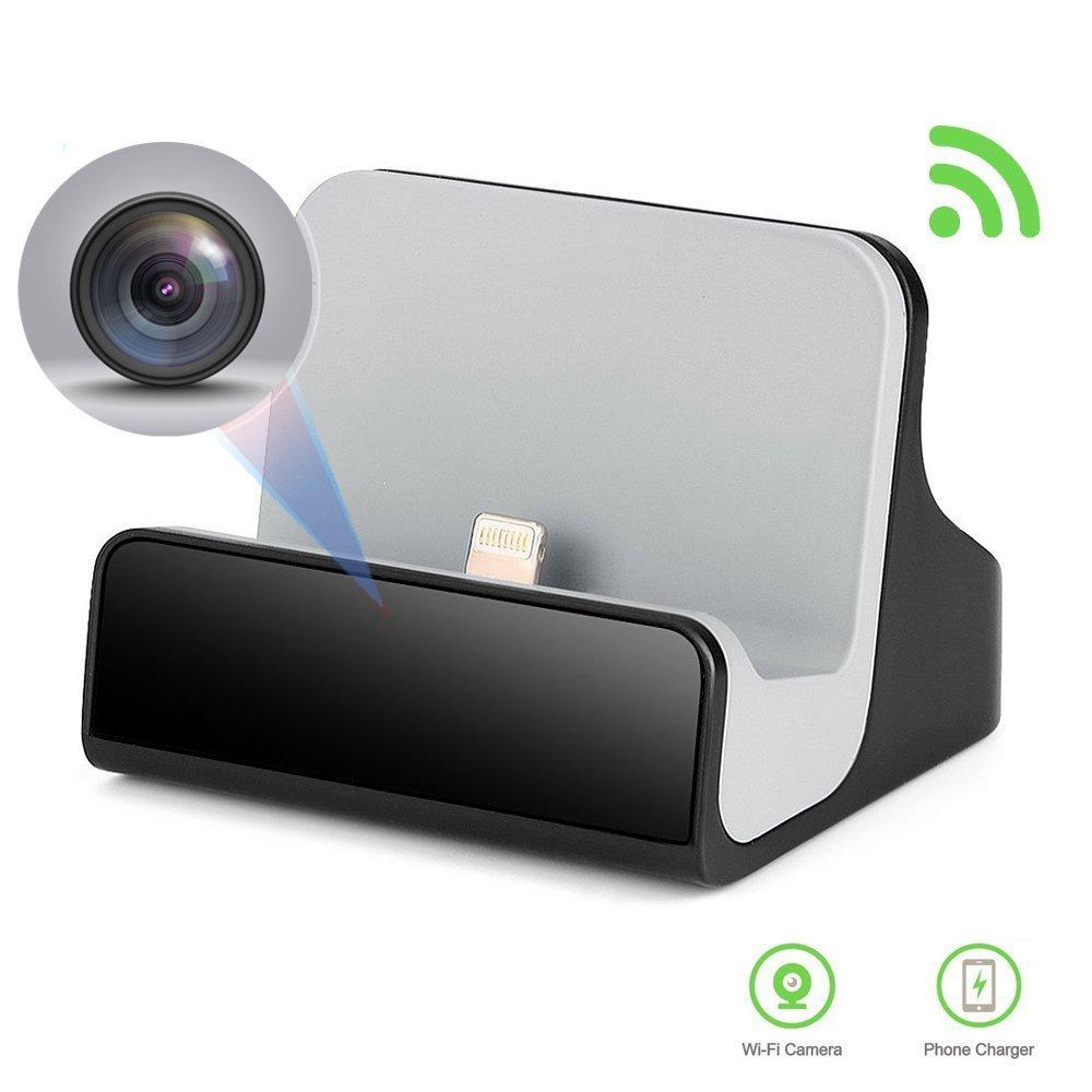 LIZVIE 隠しWiFiネットワークミニカメラ/スパイ充電器カメラ/モーション検知、目に見えないレンズ、家庭のセキュリティと監視のためのビデオレコーダー (IOS充電器) B07D479M7D