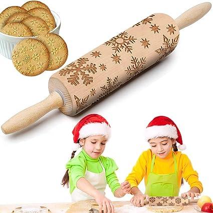 A Rodillo Tallado de Navidad,Rodillo de Amasar de Madera,Rodillo de Madera Cocina,Navidad Rodillo Amasar,Rodillo de Navidad en RelieveRodillo de Amasar en Relieve para Navidad