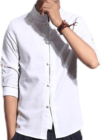 Idopy Cuello de Lino de algodón Tradicional Chino de los Hombres Camisa de botón de la Rana del Cuello del mandarín Seis Colores: Amazon.es: Ropa y accesorios