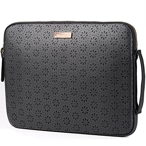 15.6-Inch Laptop Sleeve Case - Laser Cut Leather - Black 100% Laptop Sleeve