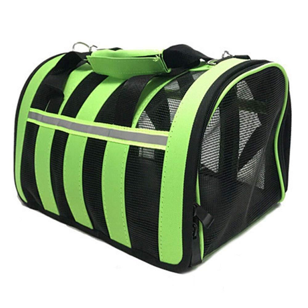 GREEN 53X30X27CM GREEN 53X30X27CM Xiao Jian Pet Bag Out of The Portable Cat Bag Foldable Dog Bag Pet Box Summer Breathable Cat Dog Bag Space Bag Travel Bag Box Supplies Pet Bag (color   Green, Size   53X30X27CM)