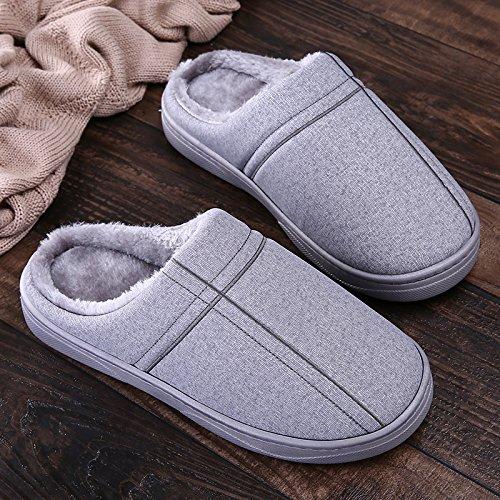 Inverno fankou paio di pantofole di cotone femmina pacchetto spessa con piscina casa impermeabile anti-skid fondo morbido caldo maschio, 40/41, grigio