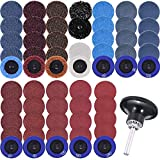 SIQUK 60 Pieces Sanding Discs Set 2 inches Quick Change Disc with 1/4 inch Tray Holder Surface Conditioning Discs for Surface Prep Strip Grind Polish Finish Burr Rust Paint Removal