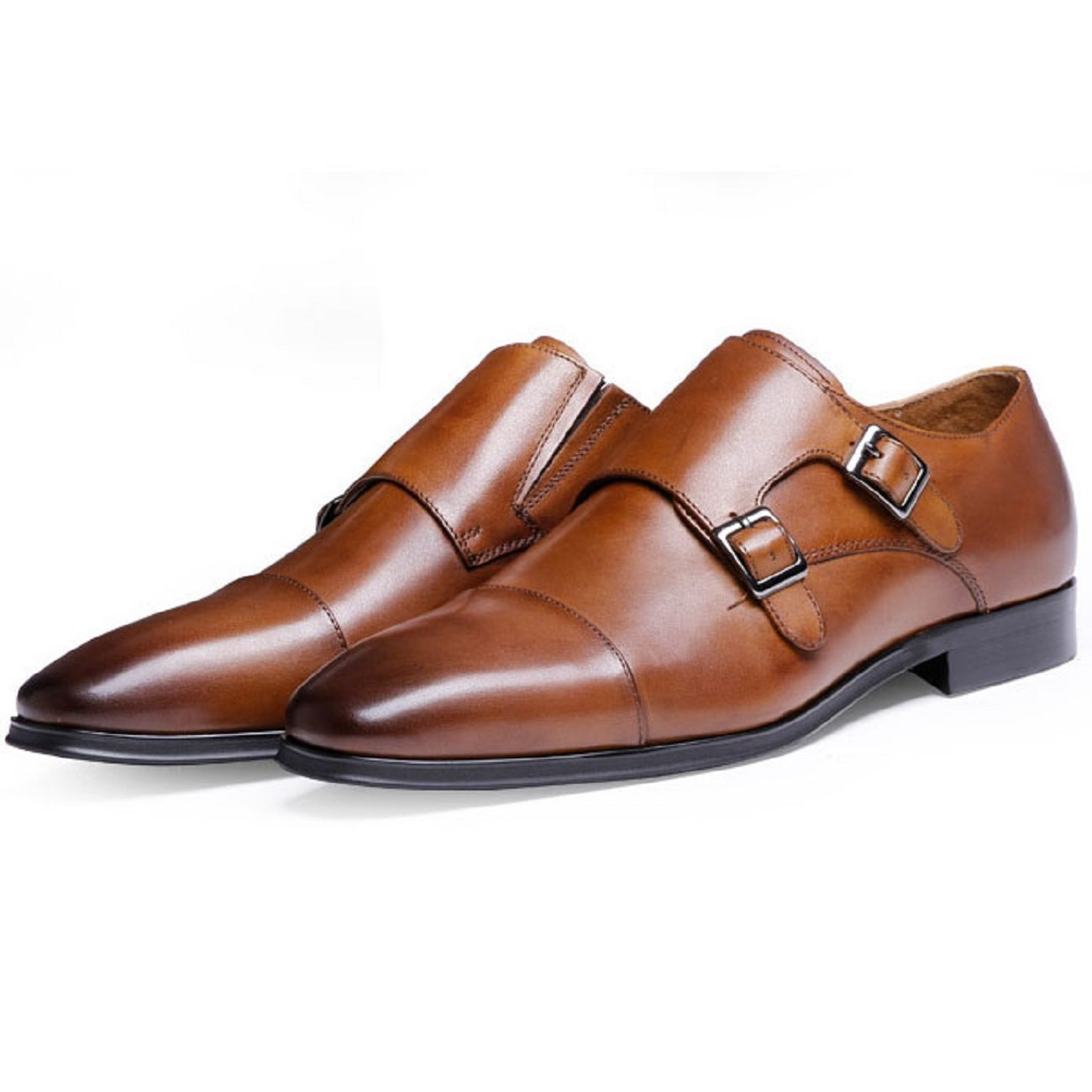 DESAI Genuine Leather Monk Strap Dress Shoes for Men