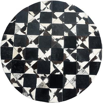 Rugs Living Room Round Cowhide Rug White Black Non-Slip Dust-Free Carpet for Bedroom Living Room (5 Sizes) (Size : Diameter200cm)