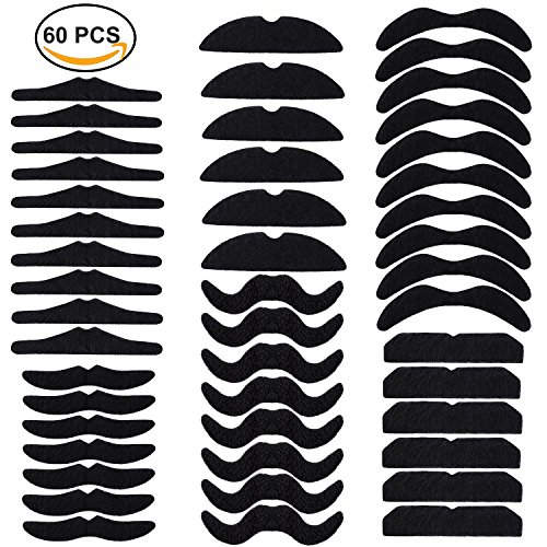 60 PCS Fake Mustache Self Adhesive Beards Accessory Costume Novelty Mustaches for Party Supplies, Masquerade & Performance