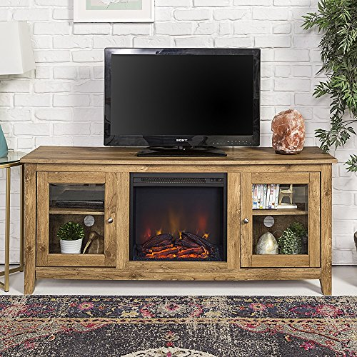 New 58 Inch Wide Television Stand with Fireplace in Barnwood Finish by Home Accent Furnishings