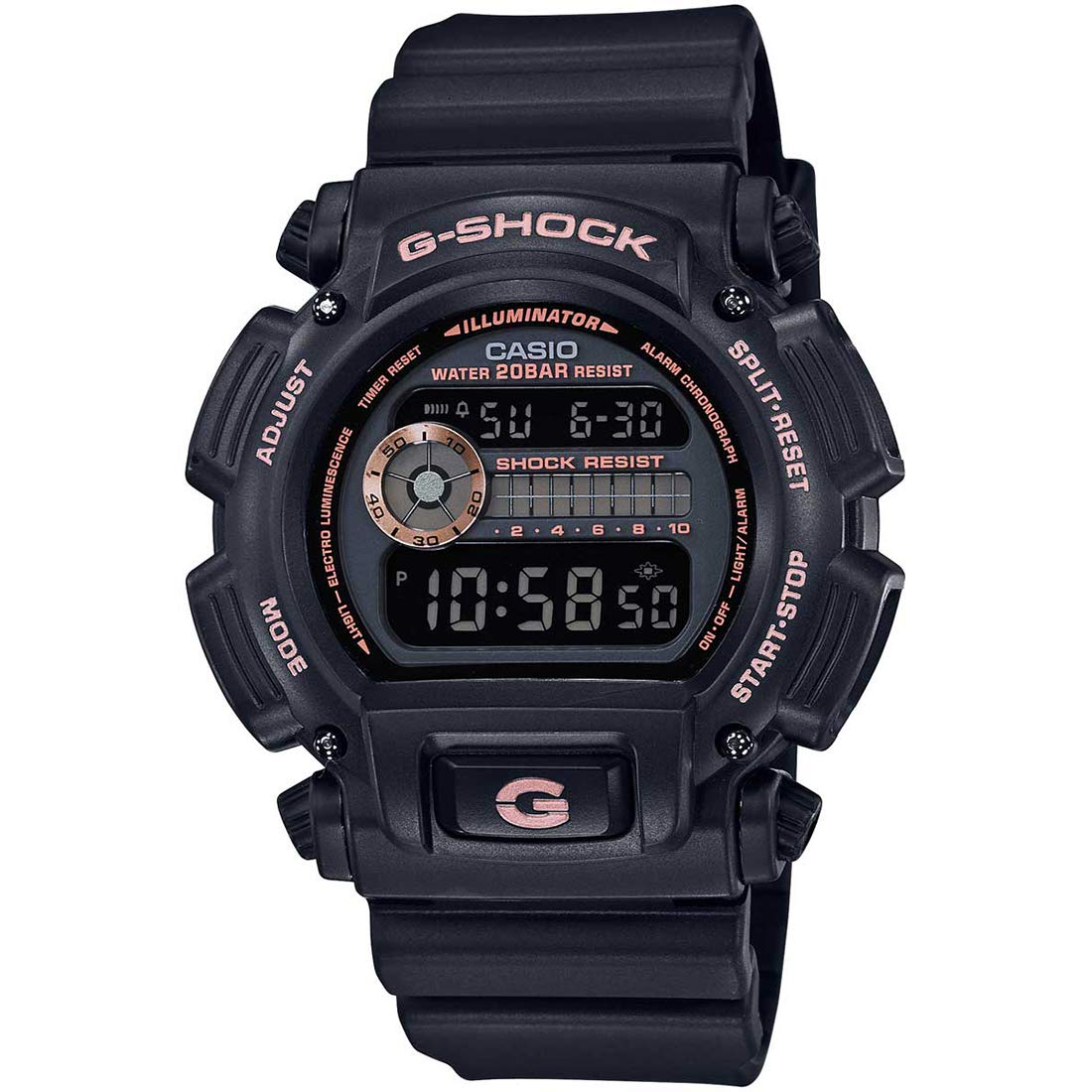 Casio Men's G-Shock DW9052GBX-1A4 Black Resin Quartz Diving Watch