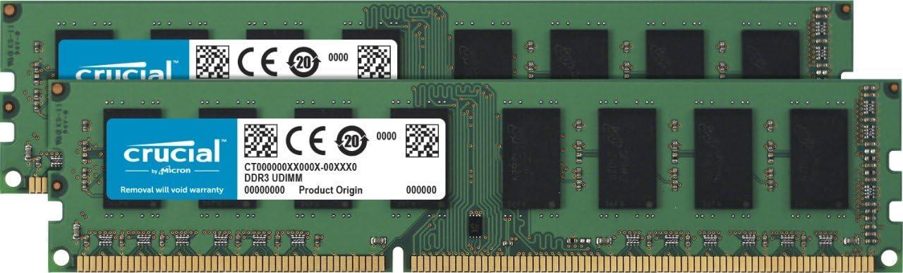 Crucial 16GB Kit (8GBx2) DDR3/DDR3L 1600 MT/s (PC3-12800) DR x8 ECC UDIMM 240-Pin Memory - CT2KIT102472BD160B