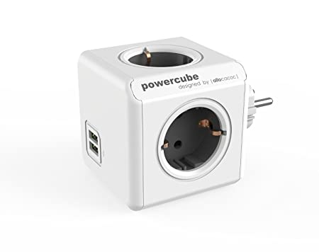 Powercube Duousb Original Gray 2 X 4 Way Socket With Usb 230 V Schuko White Gray by Allocacoc (Alm2 W)