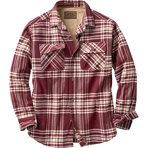[Legendary Whitetails Mens Deer Camp Fleece Lined Shirt Jac Mahogany Plaid Large] (Sherpa Lined Flannel Shirt)