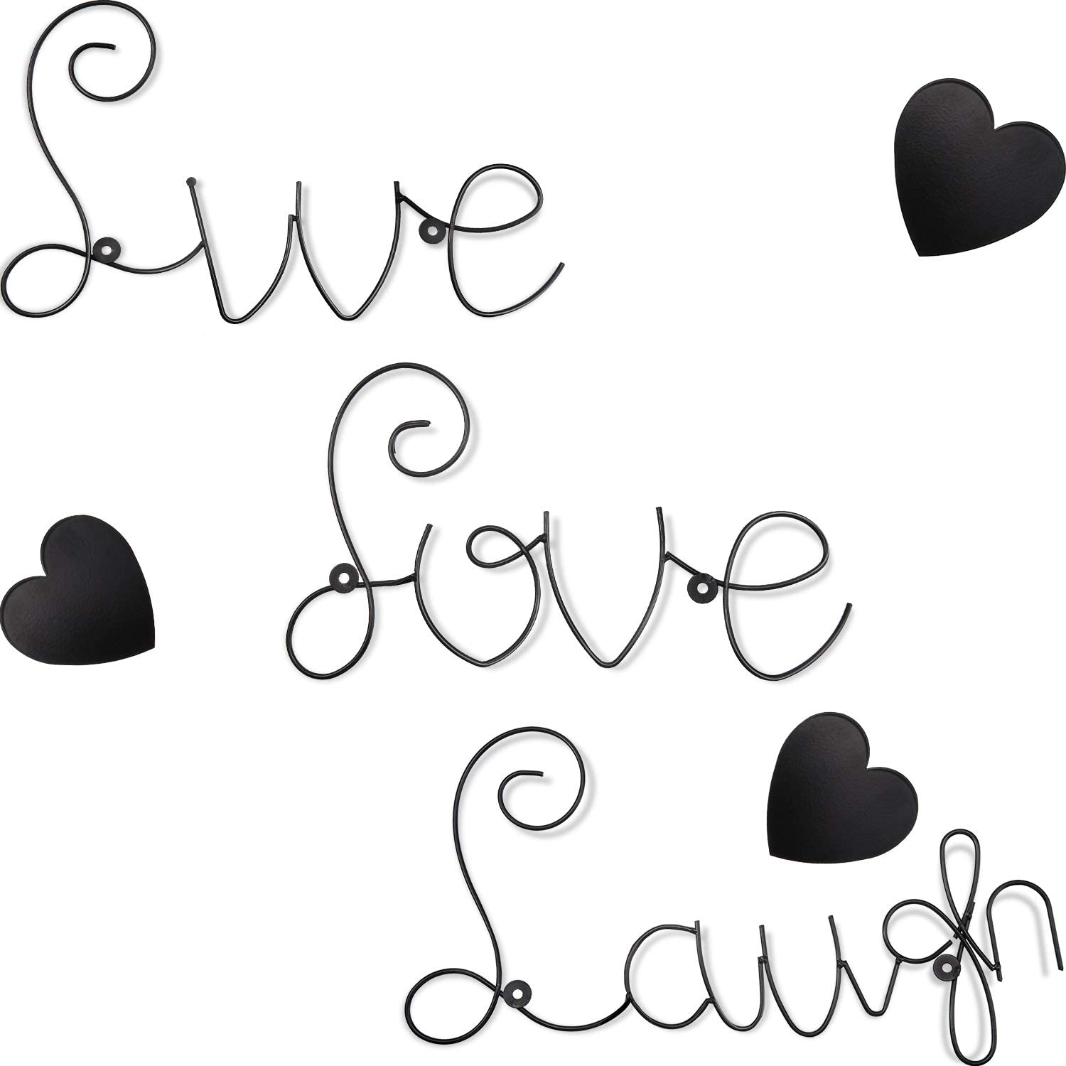 Live Love Laugh Set Metal Wall Word Sculpture with 3 Pieces Metal Heart Wall Decoration Black Love Live Laugh Heart Shape Home Decor