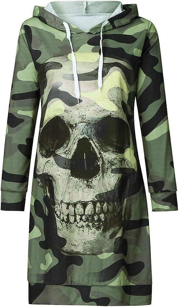 Jaysis Robe Sweat-Shirt /à/Capuche Longue Camouflage Cr/âne Imprim/é Robe Sweatshirt T/ête De Mort Squelette Robe Tunique a La Mode L/âche Robe Chemsier Top Blouse Chic Pas Cher Mini Dress