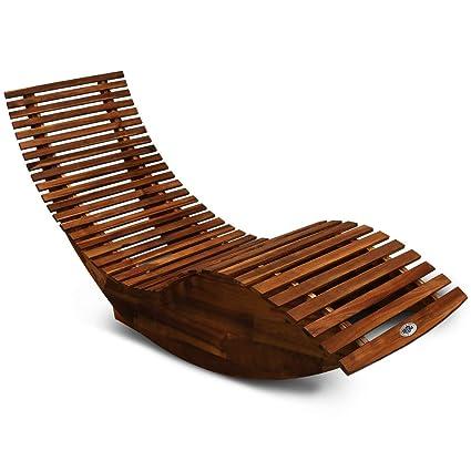 Deuba Schwungliege Fsc Zertifiziertes Akazienholz Ergonomisch Wippfunktion Gartenliege Sonnenliege Relaxliege Saunaliege