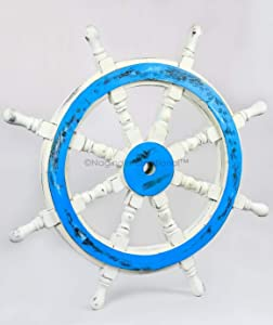 Nagina International Nautical Handcrafted Wooden Ship Wheel - Home Wall Decor (16 Inches, Antique White)