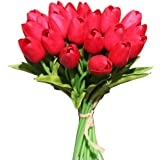 Mandy's 20pcs Red Artificial Latex Tulips for Party Home Wedding Decoration