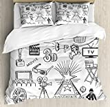 Ambesonne Movie Theater Queen Size Duvet Cover Set, Hand Drawn Symbols of Hollywood Oscar 3D Glasses Sketch Style Arrangement, Decorative 3 Piece Bedding Set with 2 Pillow Shams, Black White