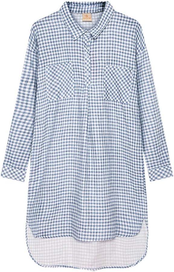 Camisones Pijamas Camisero de algodón para Mujer Pijama clásico ...