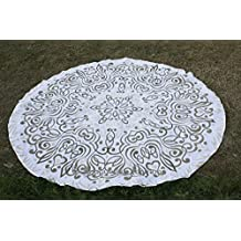 Bhagyoday Fashions- Ombre Indian Mandala Roundie, Tapestry Round, Round Meditation Mat, Mandala Circle Beach Towel, Cotton Gypsy Tablecloth 70""