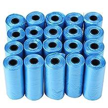 20 Rollo Bolsas de Basura Biodegradables para Perros Mascotas Bolsas de Plástico Respetuosas con Medio Ambiente para Eliminación de Popó(Azul)