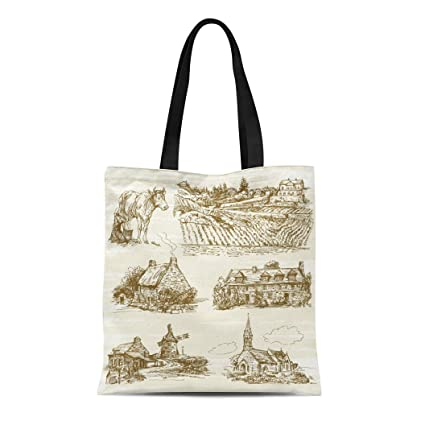 7f1f6dfcbd5b Amazon.com: Semtomn Canvas Tote Bag Shoulder Bags Old Green Farm ...